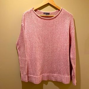 Vince Drop Shoulder Pink Knit Sweater Cotton Small